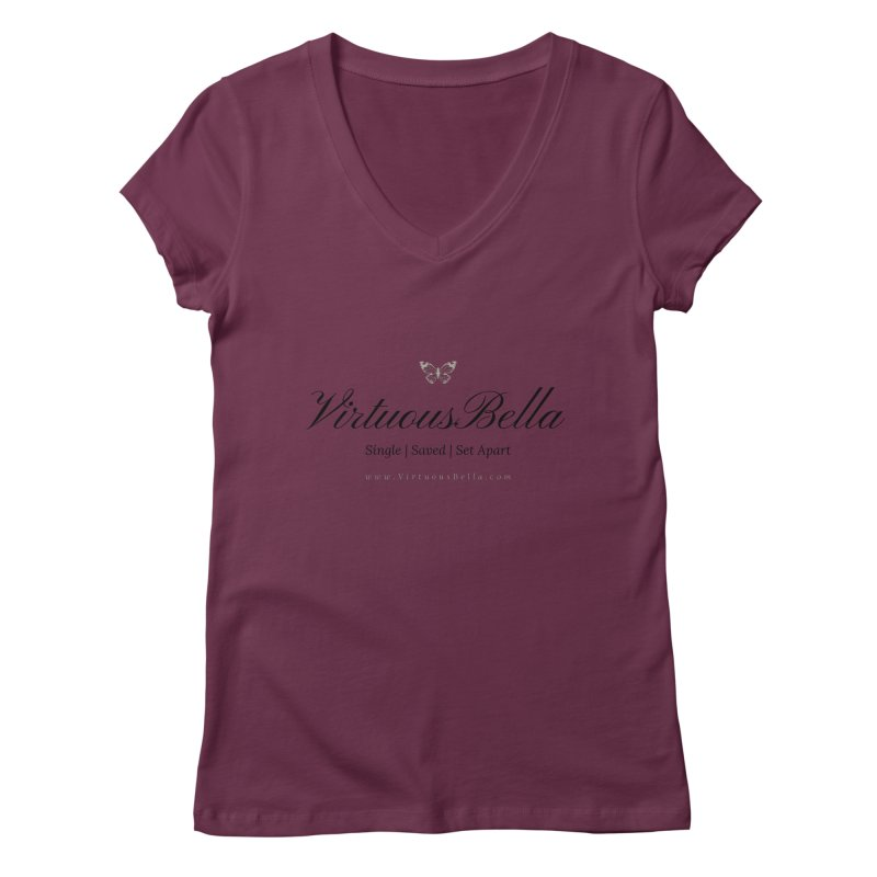 VirtuousBella Classic Black Letter Women's Regular V-Neck by Living Virtuous Boutique