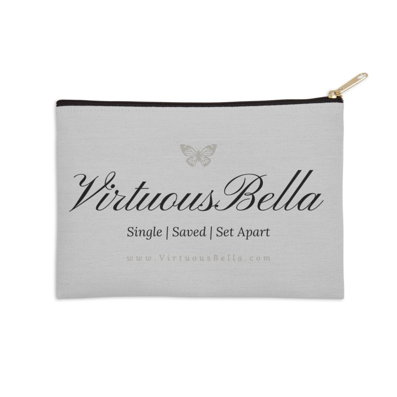 VirtuousBella Classic Black Letter Accessories Zip Pouch by Living Virtuous Boutique