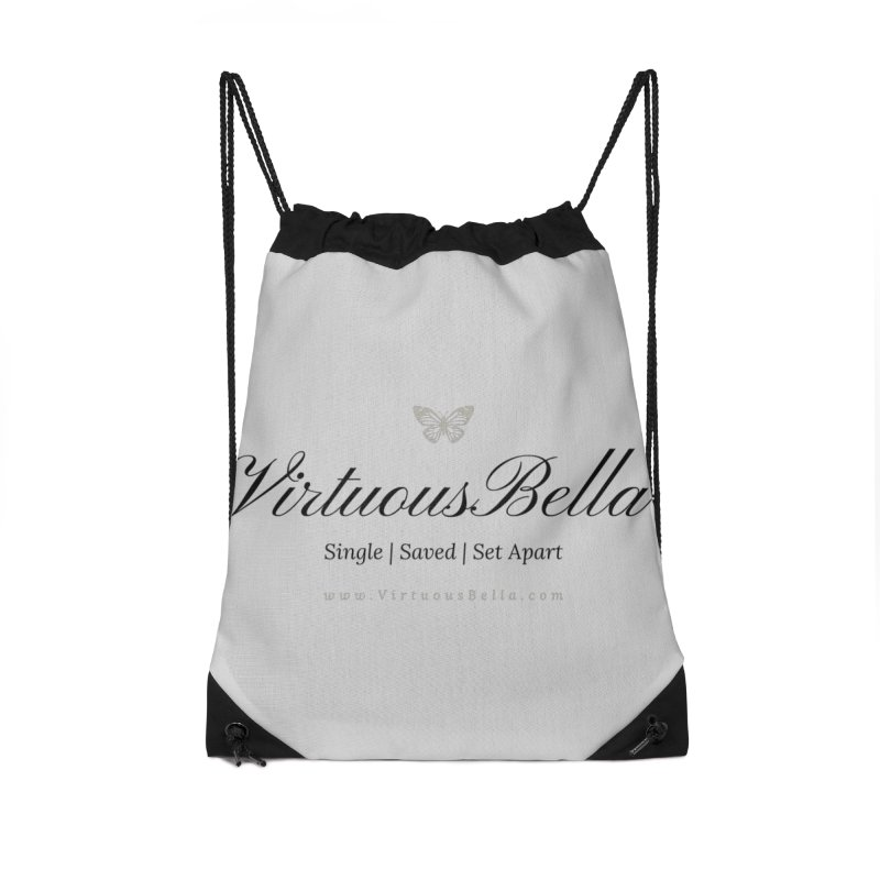 VirtuousBella Classic Black Letter Accessories Drawstring Bag Bag by Living Virtuous Boutique