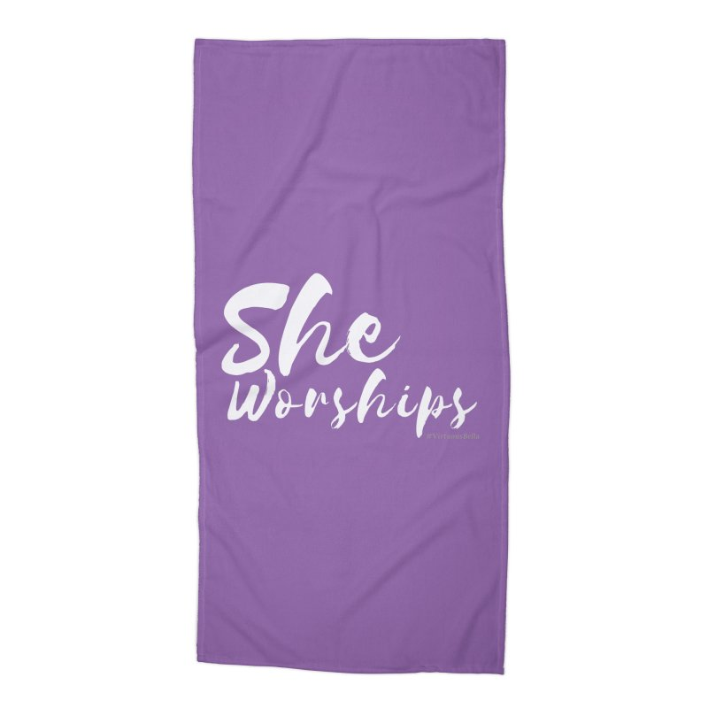 She Worships White Letters Accessories Beach Towel by Living Virtuous Boutique