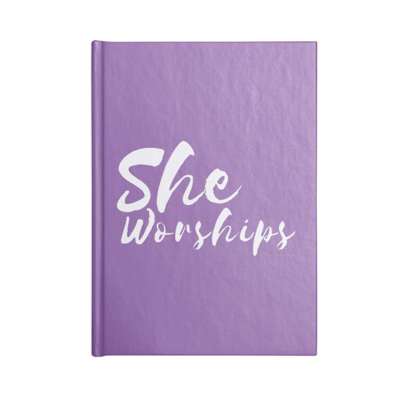 She Worships White Letters Accessories Notebook by Living Virtuous Boutique