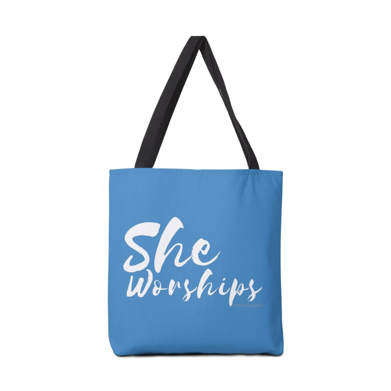 She Worships White Letters Accessories Bag by Living Virtuous Boutique