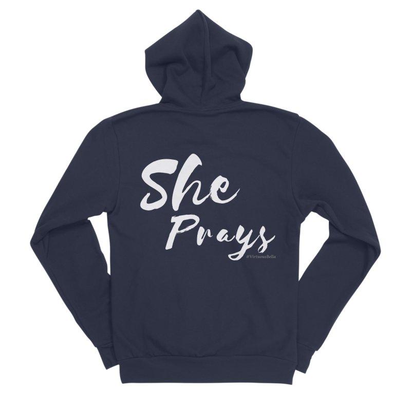 She Prays Women's Sponge Fleece Zip-Up Hoody by Living Virtuous Boutique