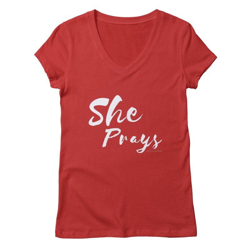 She Prays Women's Regular V-Neck by Virtuousbella Boutique