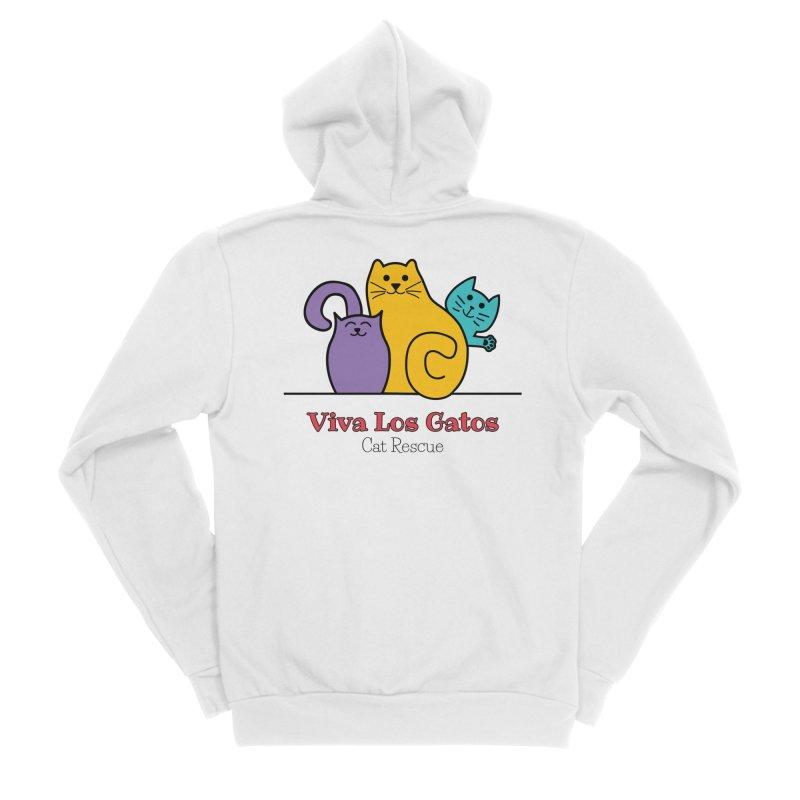 Gatos Light Men's Sponge Fleece Zip-Up Hoody by Viva Los Gatos Cat Rescue's Shop