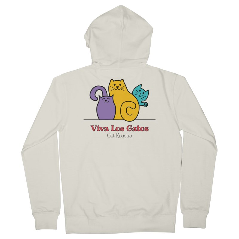 Gatos Light Women's French Terry Zip-Up Hoody by Viva Los Gatos Cat Rescue's Shop