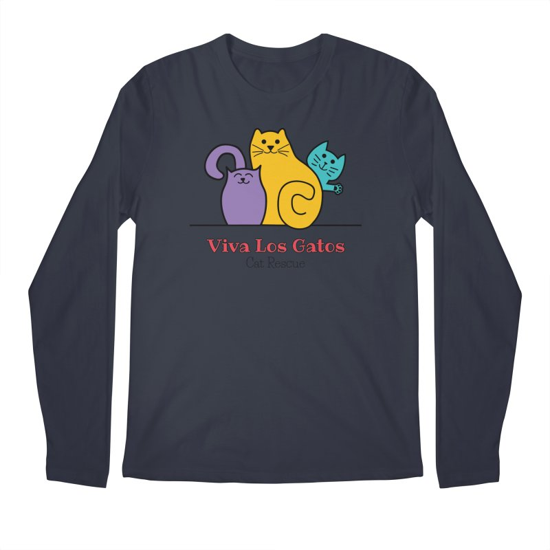 Gatos Light Men's Regular Longsleeve T-Shirt by Viva Los Gatos Cat Rescue's Shop