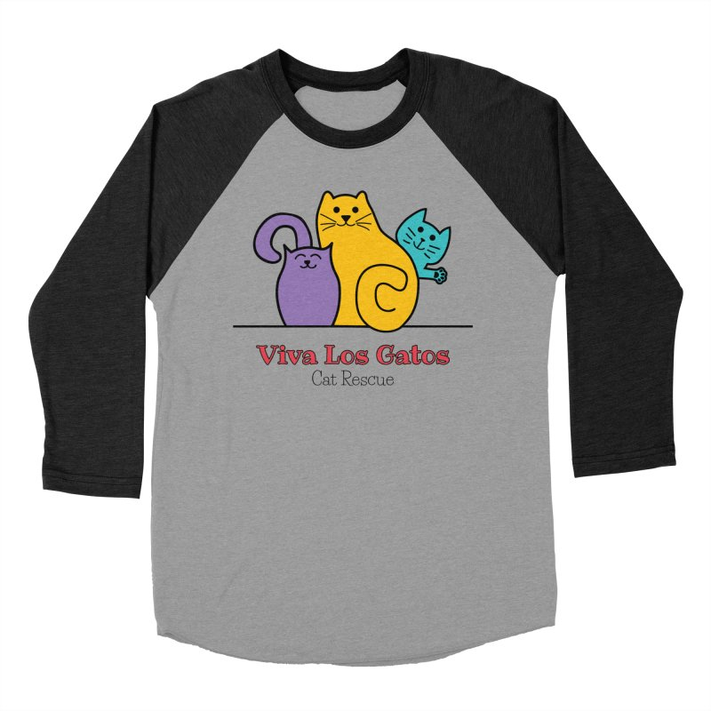 Gatos Light in Men's Baseball Triblend Longsleeve T-Shirt Heather Onyx Sleeves by Viva Los Gatos Cat Rescue's Shop