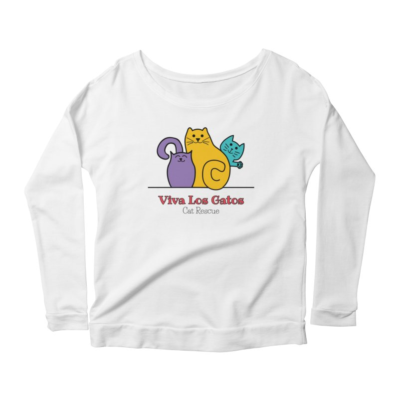 Gatos Light Women's Scoop Neck Longsleeve T-Shirt by Viva Los Gatos Cat Rescue's Shop
