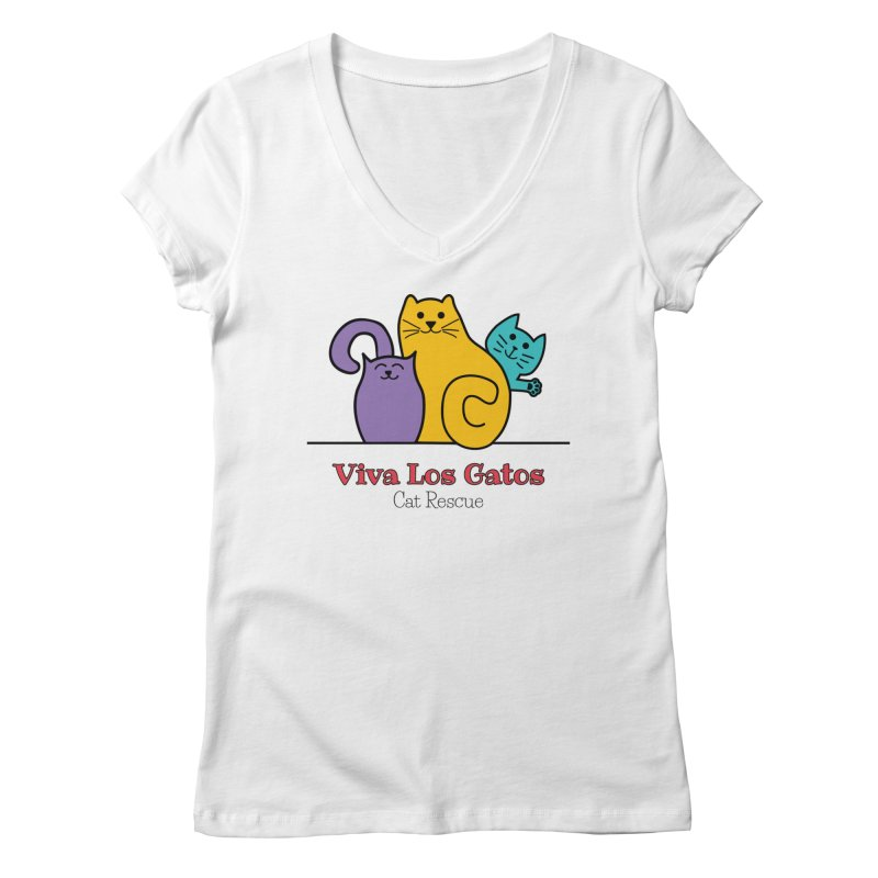 Gatos Light Women's Regular V-Neck by Viva Los Gatos Cat Rescue's Shop