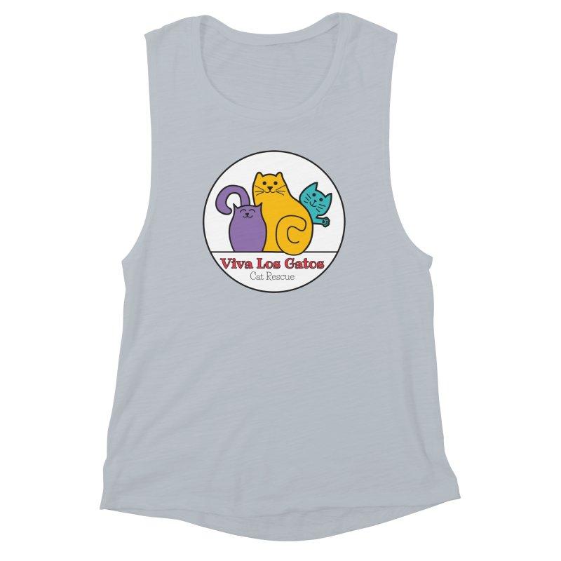 Gatos Circle Women's Muscle Tank by Viva Los Gatos Cat Rescue's Shop