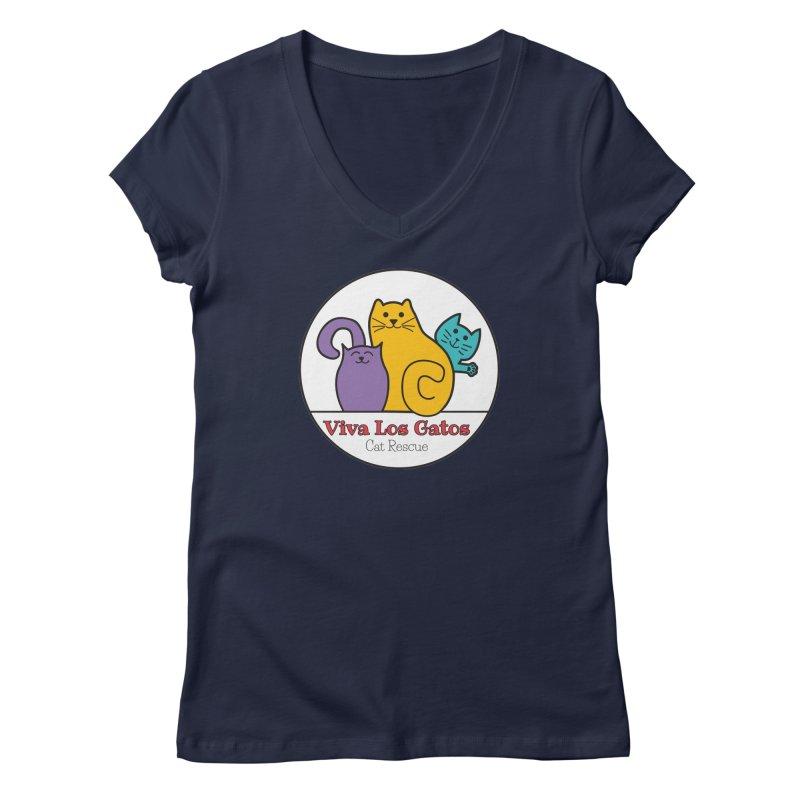 Gatos Circle Women's Regular V-Neck by Viva Los Gatos Cat Rescue's Shop