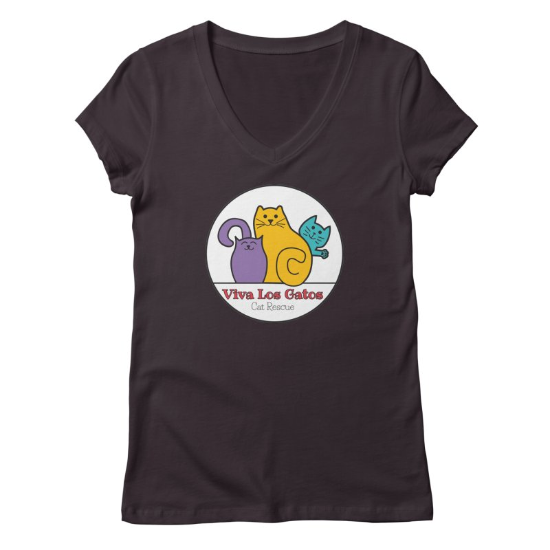 Gatos Circle Women's Regular V-Neck by Viva Los Gatos Cat Rescue's Shop