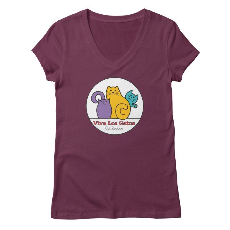 Gatos Circle Women's V-Neck by Viva Los Gatos Cat Rescue's Shop