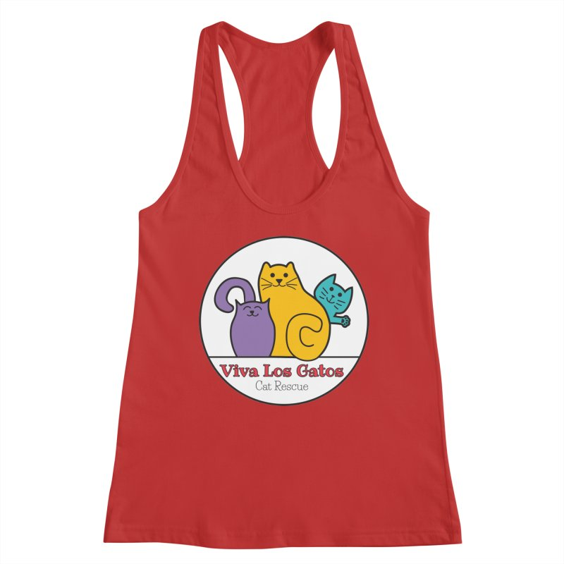 Gatos Circle in Women's Racerback Tank Red by Viva Los Gatos Cat Rescue's Shop