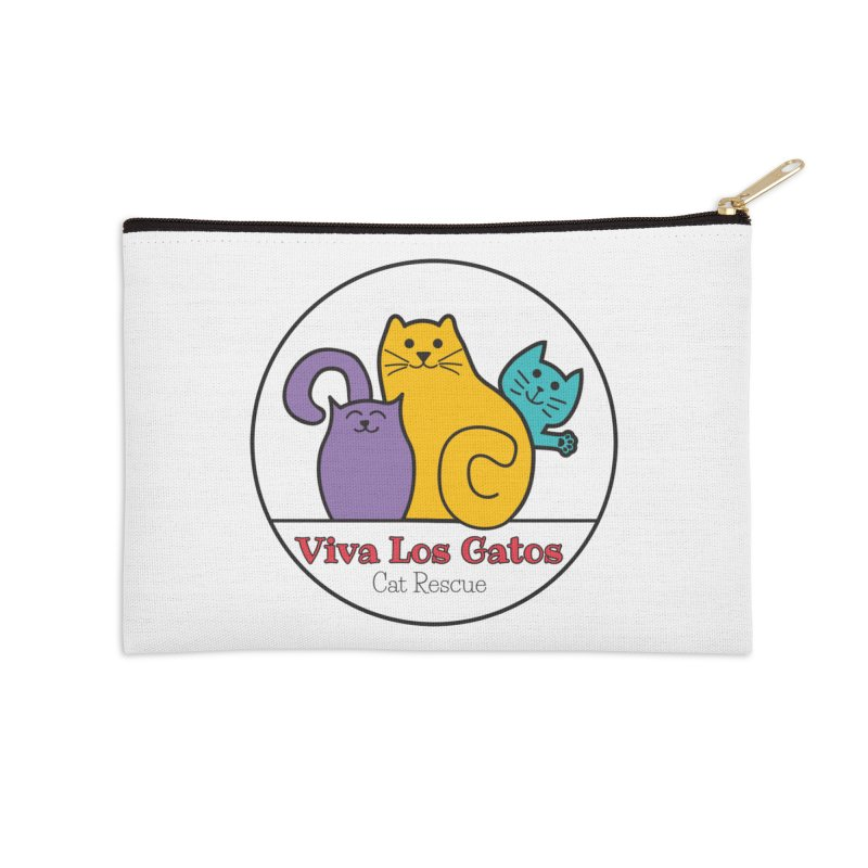 Gatos Circle Accessories Zip Pouch by Viva Los Gatos Cat Rescue's Shop