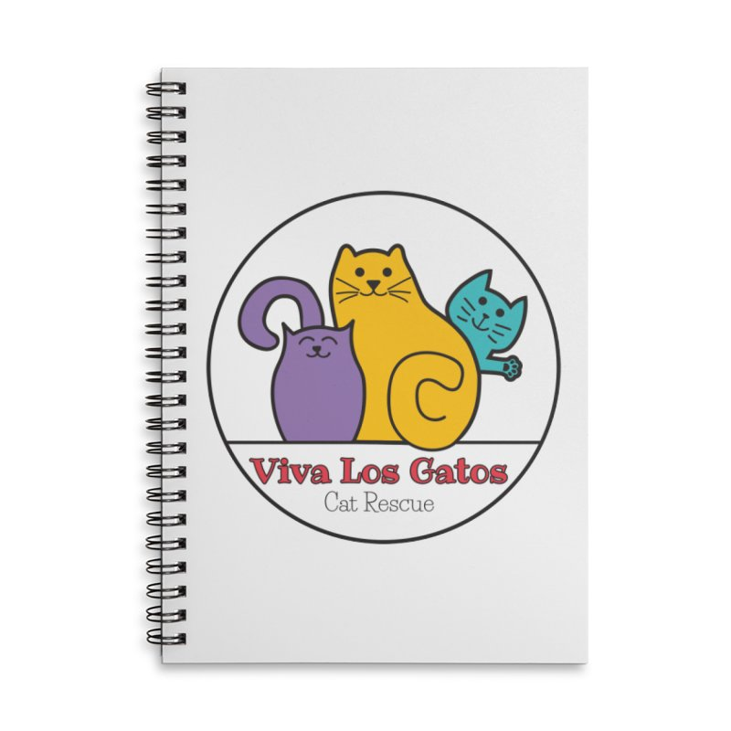 Gatos Circle Accessories Lined Spiral Notebook by Viva Los Gatos Cat Rescue's Shop