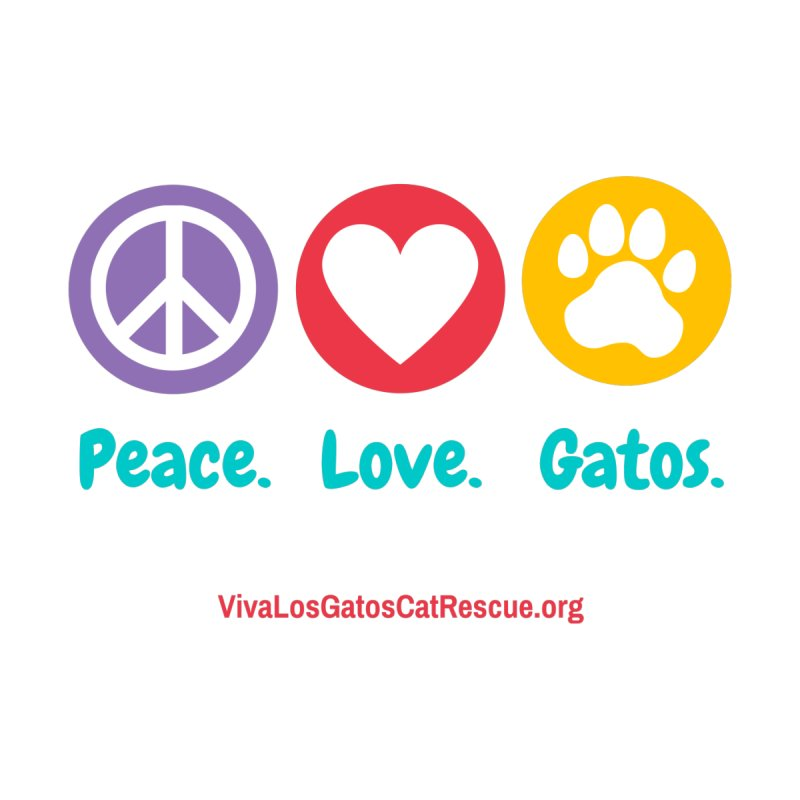 Peace. Love. Gatos. Home Throw Pillow by Viva Los Gatos Cat Rescue's Shop