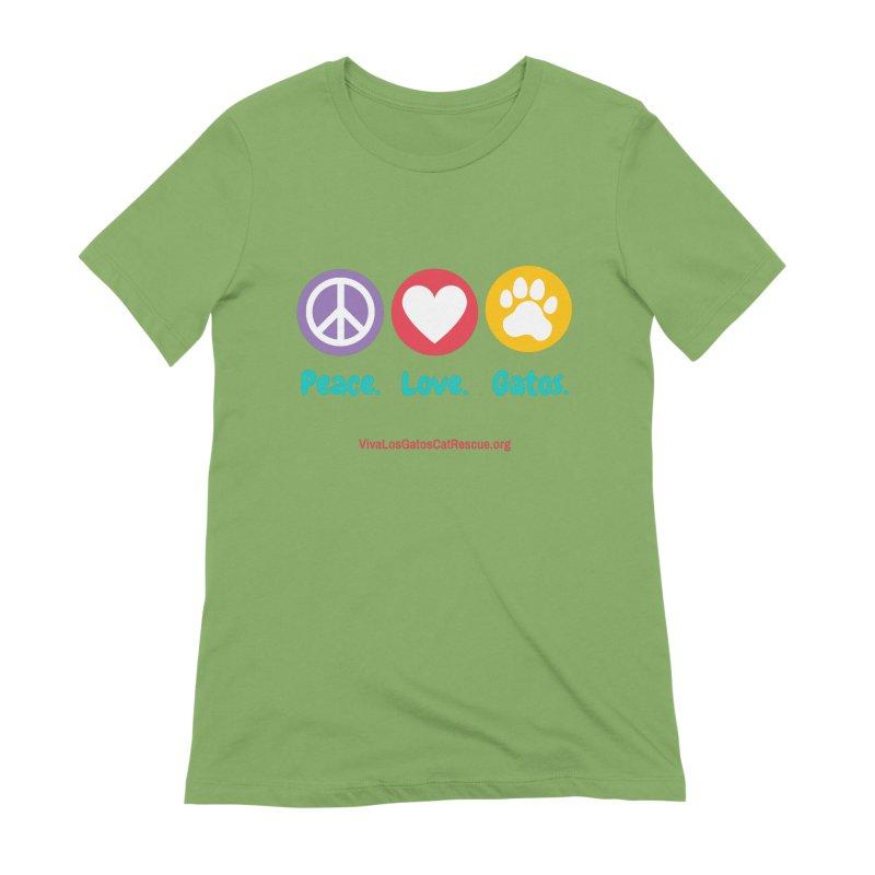 Peace. Love. Gatos. Women's Extra Soft T-Shirt by Viva Los Gatos Cat Rescue's Shop