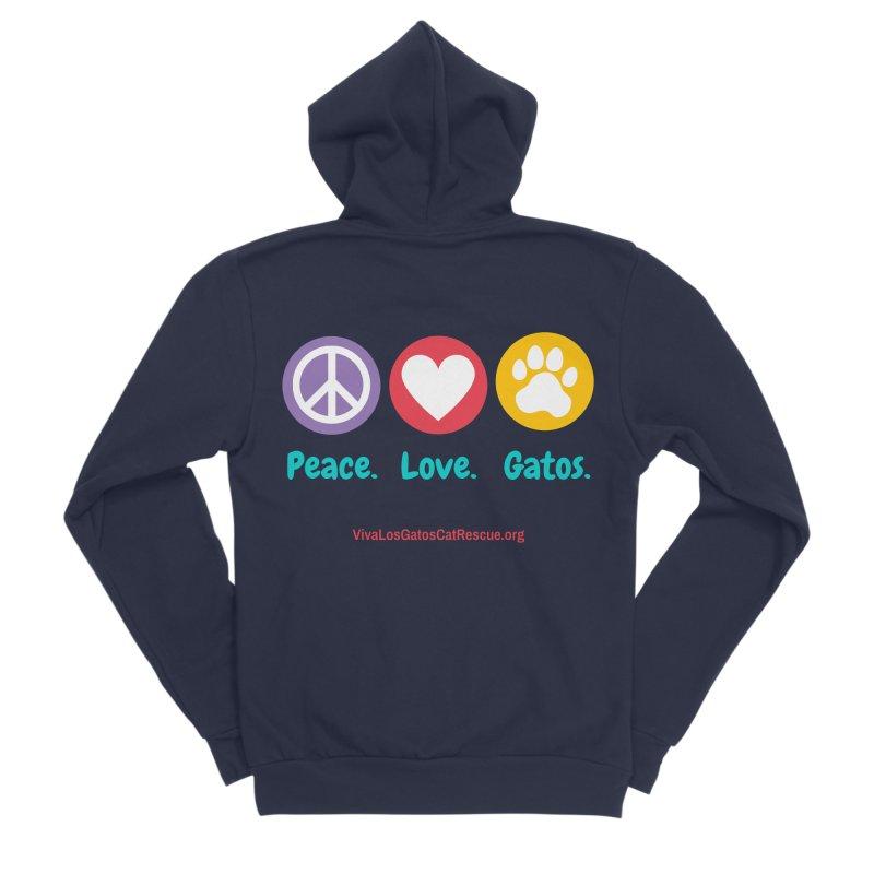 Peace. Love. Gatos. Men's Sponge Fleece Zip-Up Hoody by Viva Los Gatos Cat Rescue's Shop