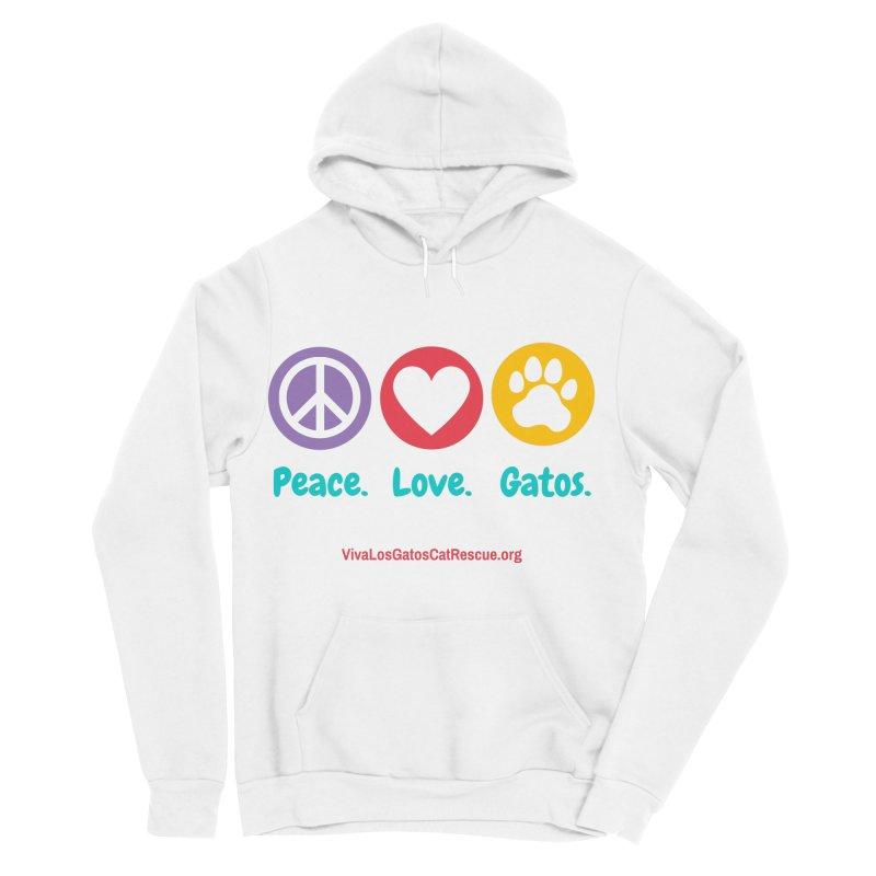 Peace. Love. Gatos. Men's Sponge Fleece Pullover Hoody by Viva Los Gatos Cat Rescue's Shop