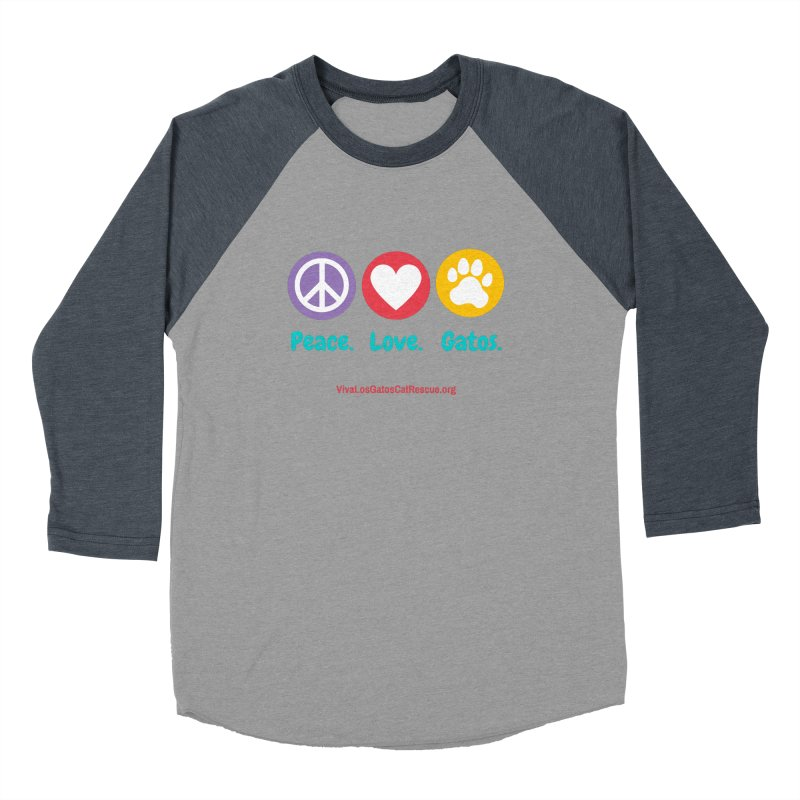 Peace. Love. Gatos. Men's Baseball Triblend Longsleeve T-Shirt by Viva Los Gatos Cat Rescue's Shop