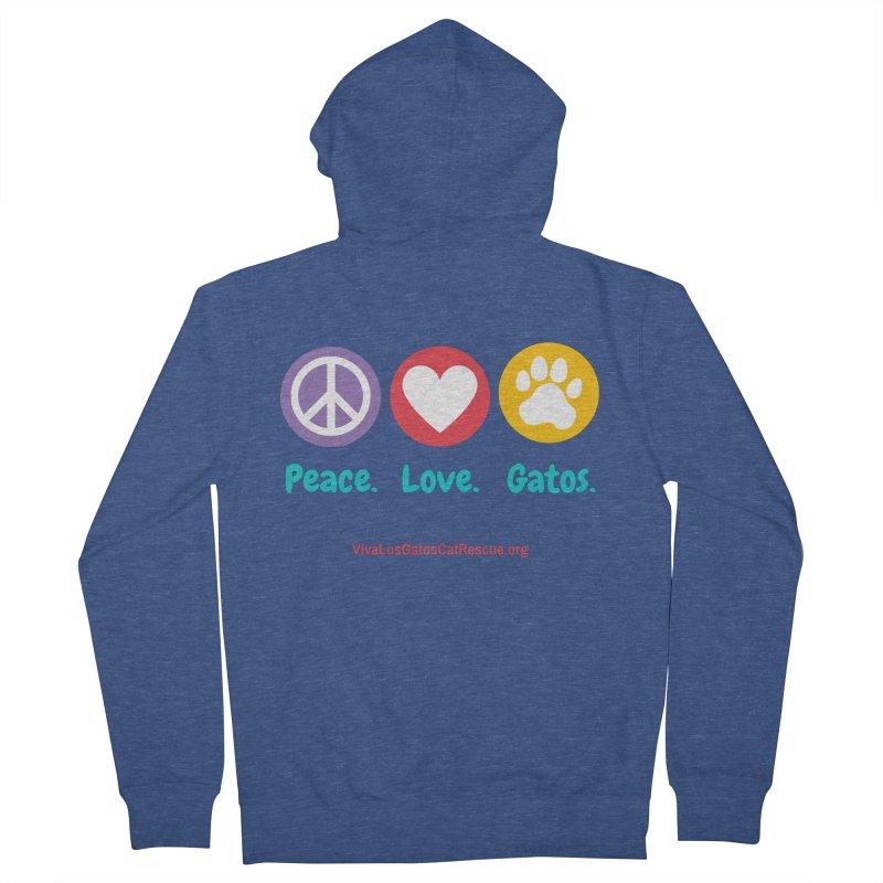 Peace. Love. Gatos. Men's Zip-Up Hoody by Viva Los Gatos Cat Rescue's Shop