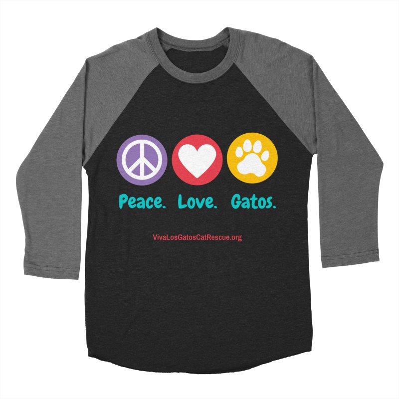 Peace. Love. Gatos. Men's Baseball Triblend Longsleeve T-Shirt by Viva Los Gatos Cat Rescue's Shop