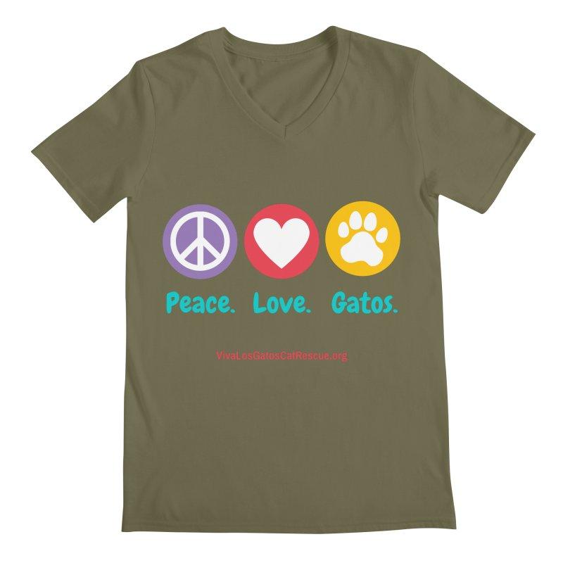 Peace. Love. Gatos. Men's Regular V-Neck by Viva Los Gatos Cat Rescue's Shop
