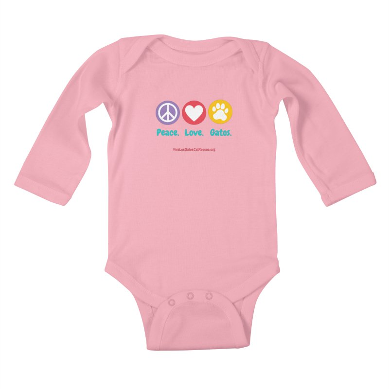 Peace. Love. Gatos. Kids Baby Longsleeve Bodysuit by Viva Los Gatos Cat Rescue's Shop