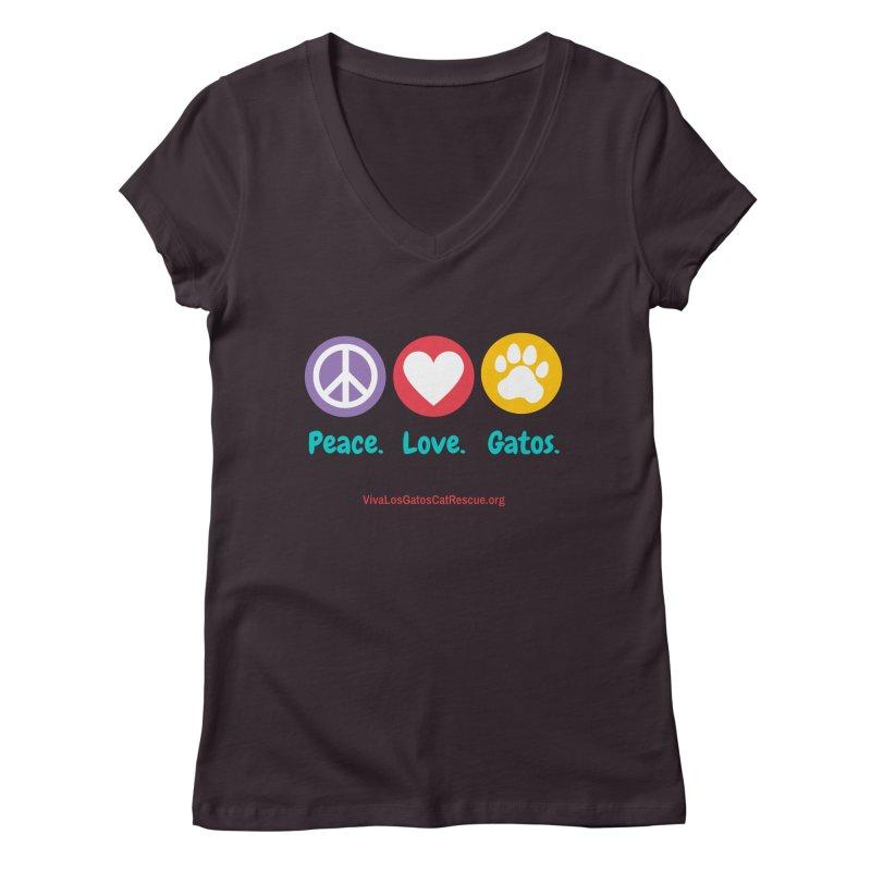 Peace. Love. Gatos. Women's Regular V-Neck by Viva Los Gatos Cat Rescue's Shop