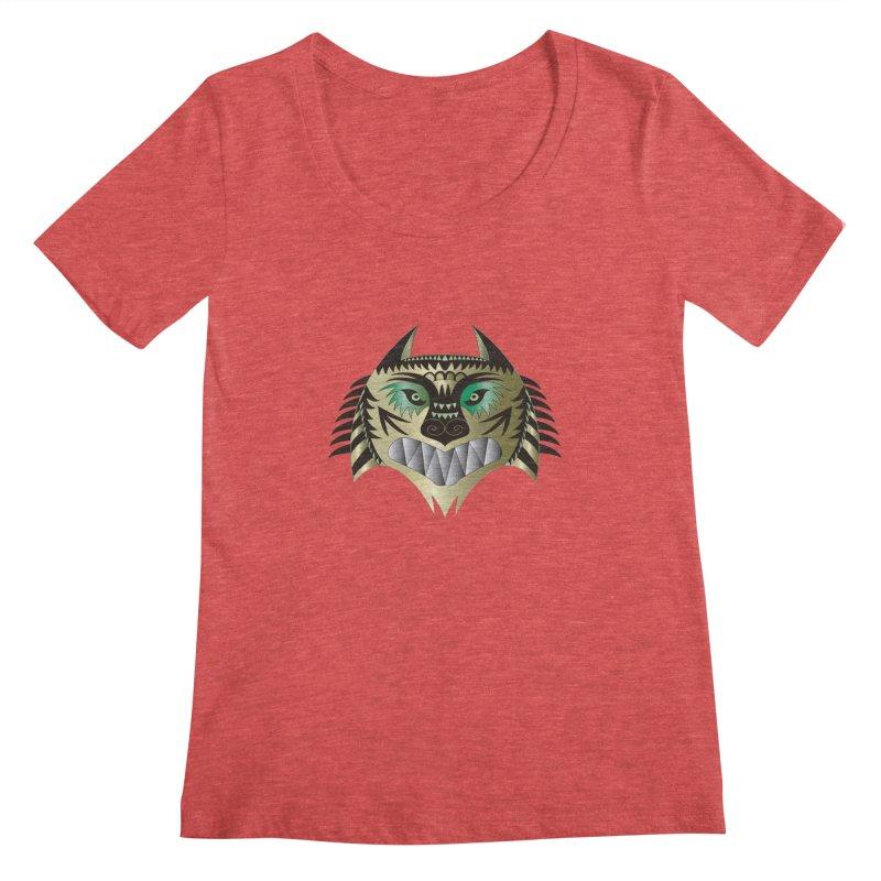 Wolf-Tiger Women's Scoopneck by WALLYF's Artist Shop