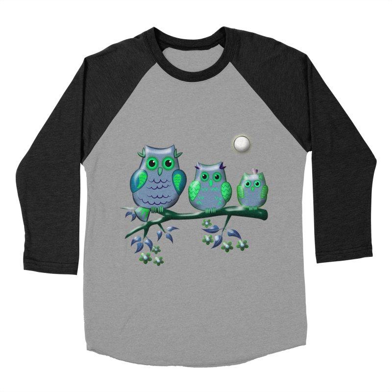 owls Men's Baseball Triblend T-Shirt by WALLYF's Artist Shop