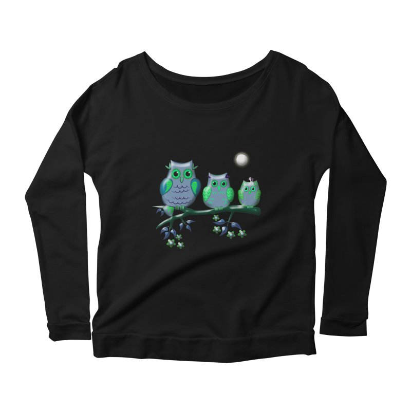 owls Women's Longsleeve Scoopneck  by WALLYF's Artist Shop