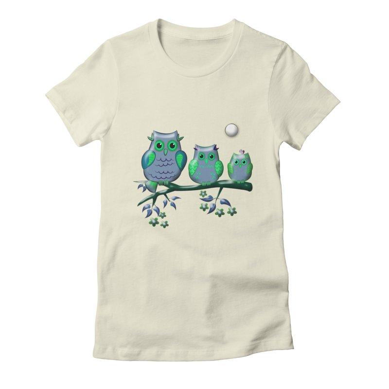 owls Women's Fitted T-Shirt by WALLYF's Artist Shop