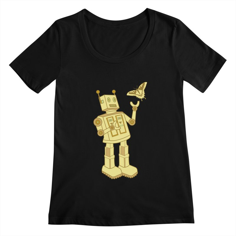 robot Women's Scoopneck by WALLYF's Artist Shop