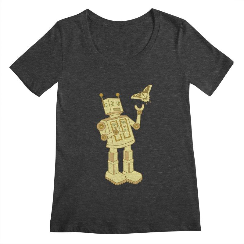 robot Women's Scoopneck by WALLYF's Artist Shop