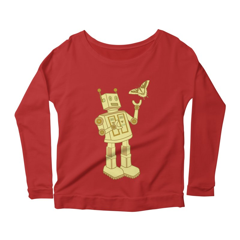 robot Women's Longsleeve Scoopneck  by WALLYF's Artist Shop