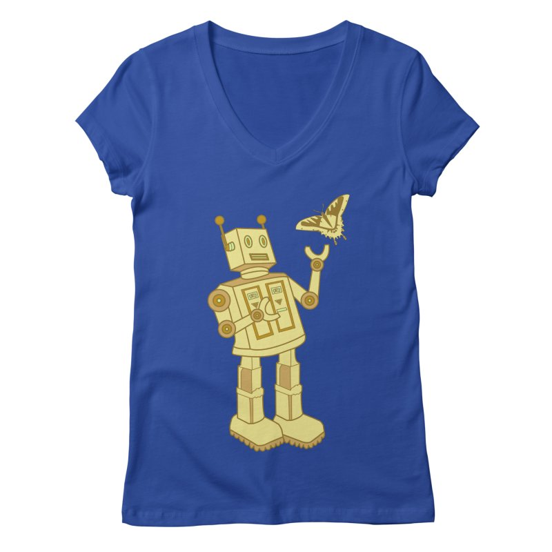 robot Women's V-Neck by WALLYF's Artist Shop
