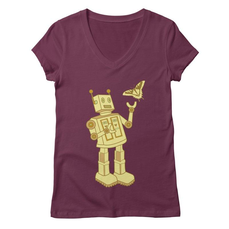 robot Women's V-Neck by WALLYF's Artist Shop