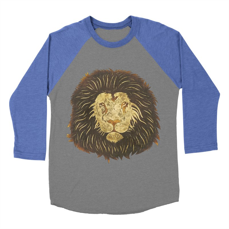 wild lion Men's Baseball Triblend T-Shirt by WALLYF's Artist Shop