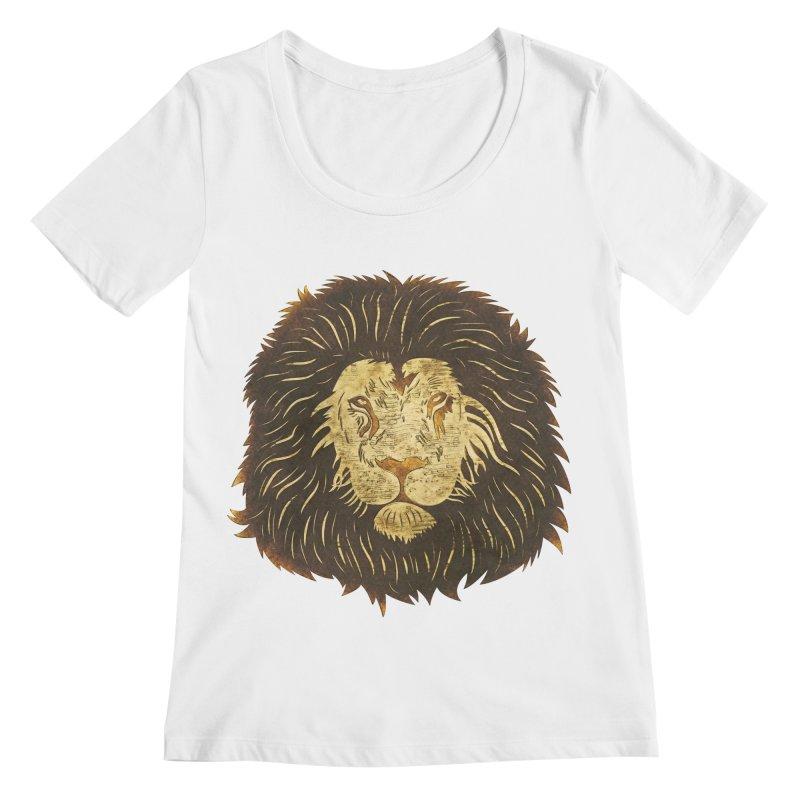 wild lion Women's Scoopneck by WALLYF's Artist Shop