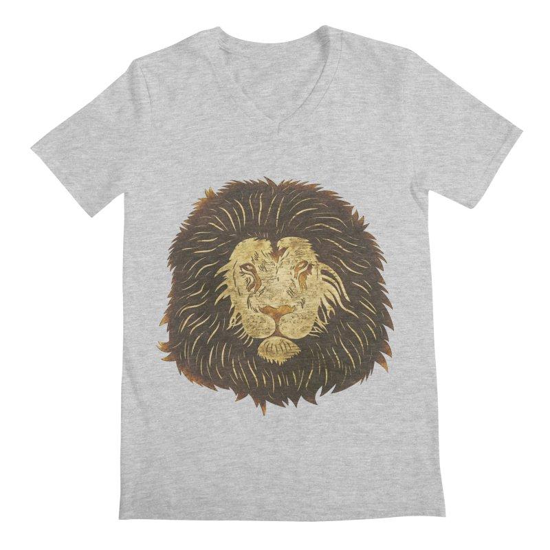 wild lion Men's V-Neck by WALLYF's Artist Shop