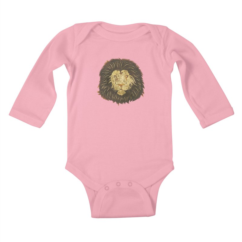 wild lion Kids Baby Longsleeve Bodysuit by WALLYF's Artist Shop