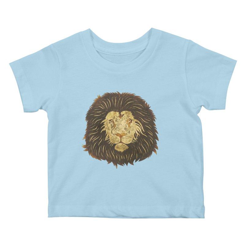 wild lion Kids Baby T-Shirt by WALLYF's Artist Shop