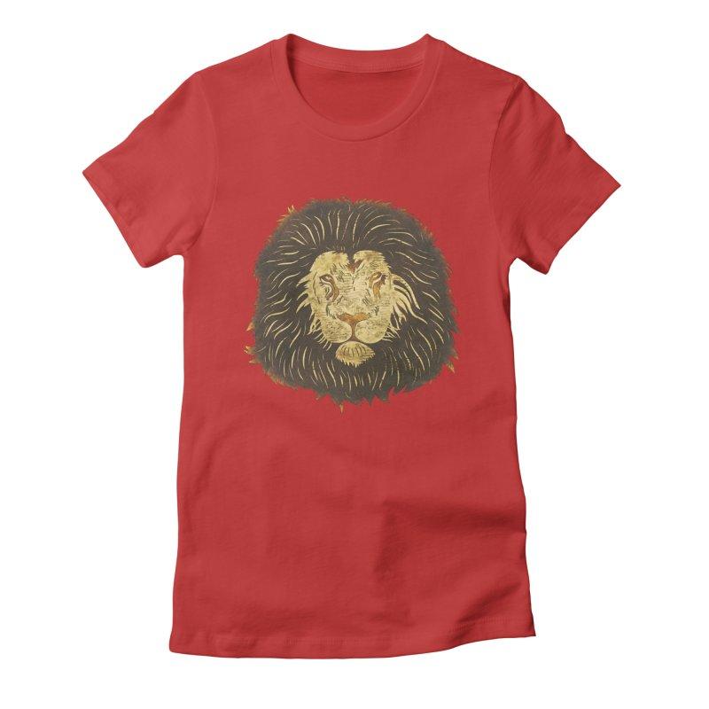 wild lion Women's Fitted T-Shirt by WALLYF's Artist Shop