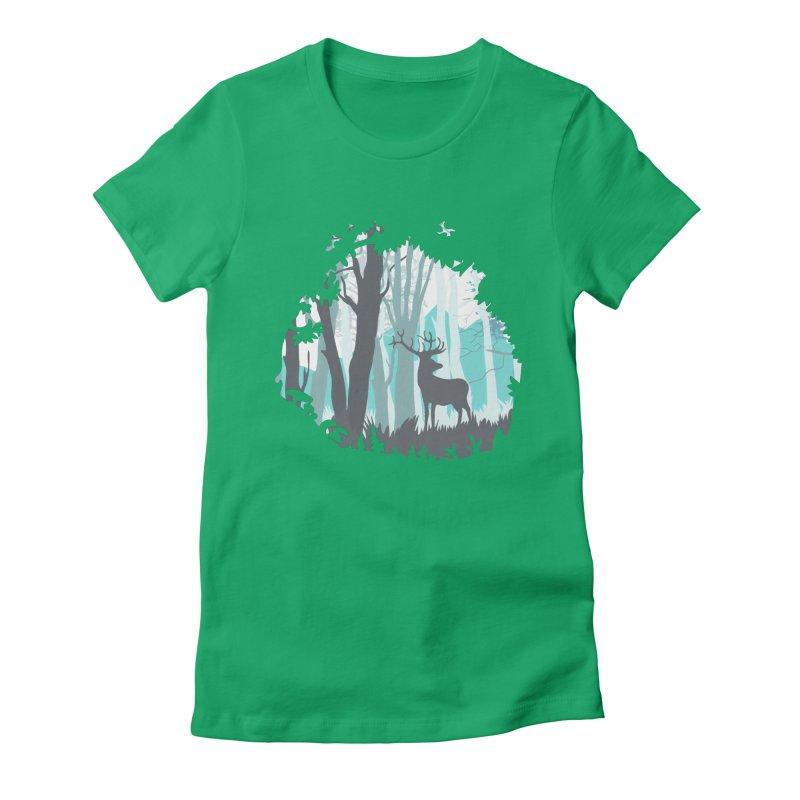 the hidden forest Women's Fitted T-Shirt by WALLYF's Artist Shop
