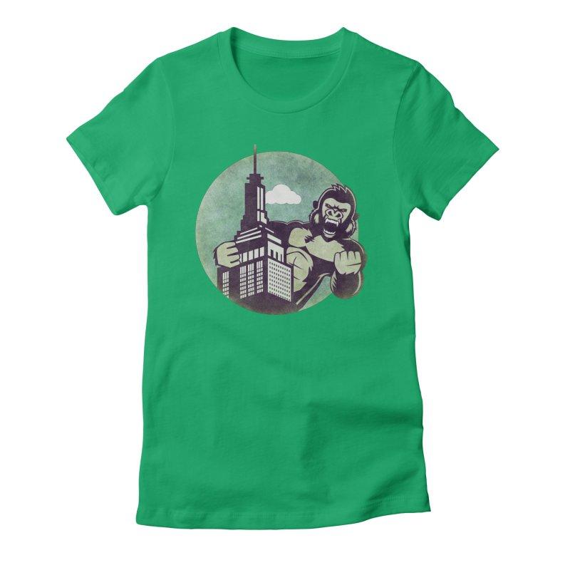 Gorilla Women's Fitted T-Shirt by WALLYF's Artist Shop