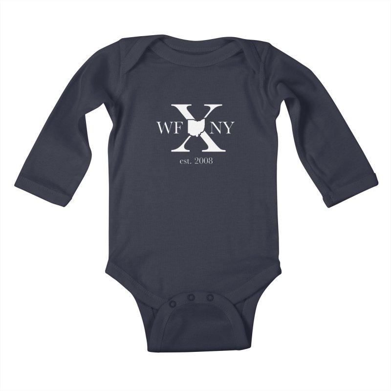 WFNY X White Logo Kids Baby Longsleeve Bodysuit by WFNY - WaitingForNextYear