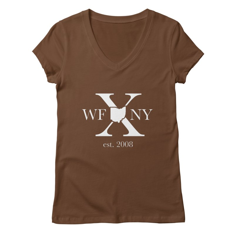 WFNY X White Logo Women's Regular V-Neck by WFNY - WaitingForNextYear